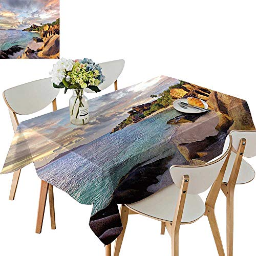 UHOO2018 Tablecloth Tropical Rock Sandy Beach at Sunset in Island with Majestic Sky Light Art Square/Rectangle Table Cover,52 x 70inch