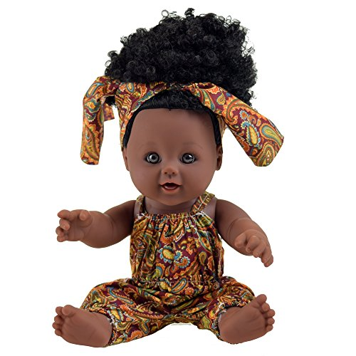 TUSALMO 2019 Newest 12 inch Lifelike Silicone Vinyl Toy Dolls, African American Black Reborn Baby Dolls, give for Kids and Girl Holiday Birthday Gift(Brown 01) ()