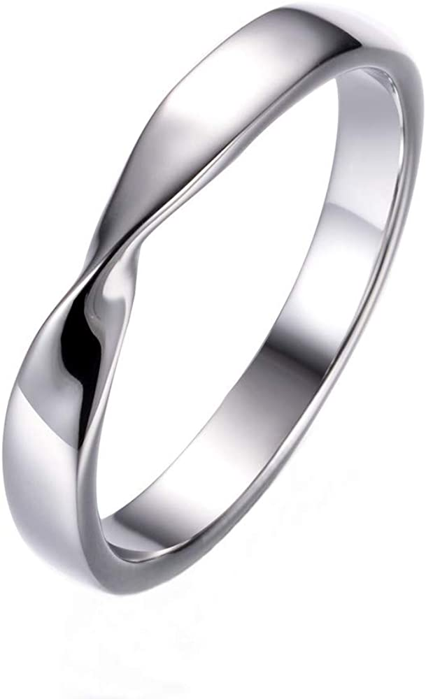 eejart Stainless Steel Simple Fashion Mobius Ring Couple Ring Wedding Promise Band Ring