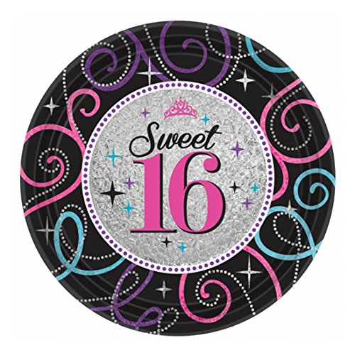 Elegant Sweet Sixteen Celebration Birthday Party Dessert Paper Plates Disposable Tableware (8 Pack), Black/Gray, 7