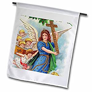 SmudgeArt All Things Christmas - Christmas angel with cross 1914-18 x 27 inch Garden Flag (fl_9217_2)