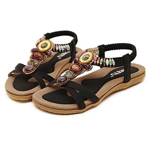 Insun - Sandalias para mujer, estilo bohemio con cuentas, atadas al tobillo negro