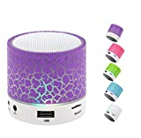 Portable Wireless Bluetooth Speaker,Hica Mini Wireless Hands Free Crackle Bluetooth Speaker Support Music FM Radio TF Card USB Flash Drive Built-in Microphone with LED lights for Phone,MP3?Purple