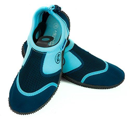 Aqua-Speed 14 Aquaschuhe Wasserschuhe / Surfschuhe / Badeschuhe (navyblau/blau, 22)