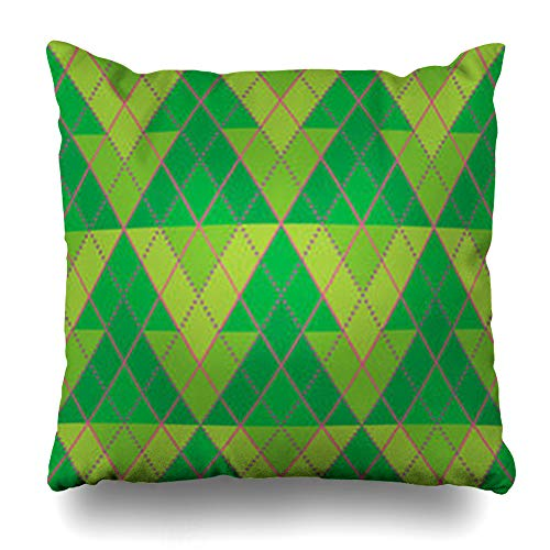 Ahawoso Throw Pillow Cover Pillowcase Diamond Christmas Tree Pattern Pine Year Celebration Fir Merry Design Zippered Square Size 18 x 18 Inches Home Decor Cushion Case -