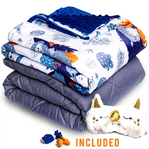 Cheap Homshley Valleys | Weighted Blanket for Kids 5lbs | Perfect for 40-70 Pounds Children (Boys & Girls | Grey Weighted Comforter with Removable Soft Minky Cover | Sleeping Animals Design | Size 36