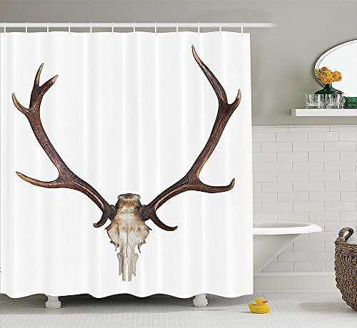 Antlers Decor Collection Antlers of a Huge Stag Skeleton Big Bone Horn Hunter Style Home Decorating Artwork Polyester Fabric Bathroom Shower Curtain Set with Hooks Brown Beige