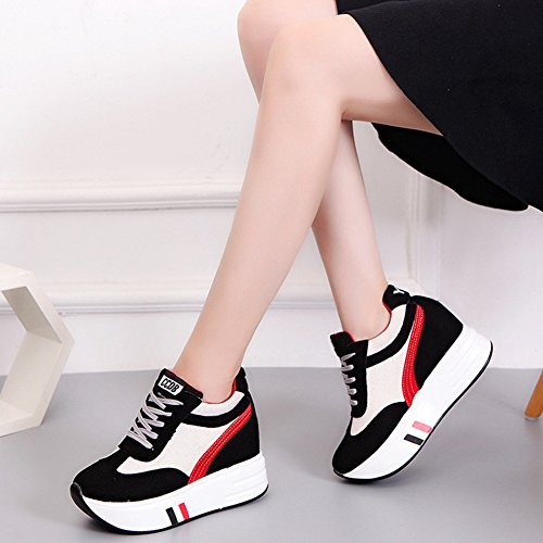 Athletic Platform Btrada Up Black Sneakers Increased Lace height Sneaker Womens Hidden Shoes Wedge Casual w1vgxSF1qI