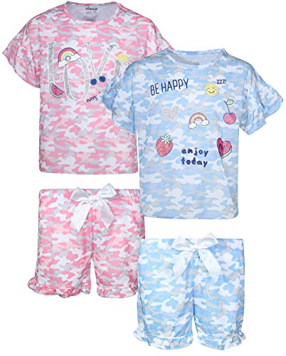 Sleep On It Girls 4-Piece Summer Pajama T-Shirt and Short Set (2 Full Sets), Pink/Blue Camo, Size 7-8' ()