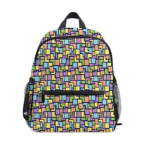 Kids Backpacks School Book Bag,Colorful Composition with Angled Stripes and Squares Retro Style Arrangement
