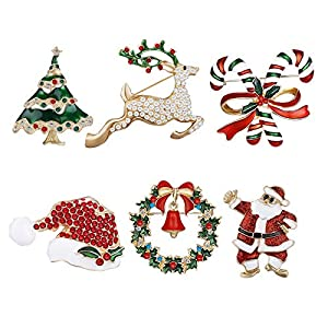 6 Pezzi Spilla di Natale Pin di Neve Set con Decorazioni Natalizie in Cristallo di Strass 2 spesavip