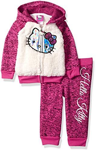Hello Kitty Toddler Outfit (Hello Kitty Baby Girls 2 Piece Hooded Fleece Active Set, Fuchsia/Cream, 12)