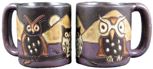 One (1) MARA STONEWARE COLLECTION - 16 Oz Coffee/Tea Cup Collectible Dinner Mugs - Night Owl Bird Design