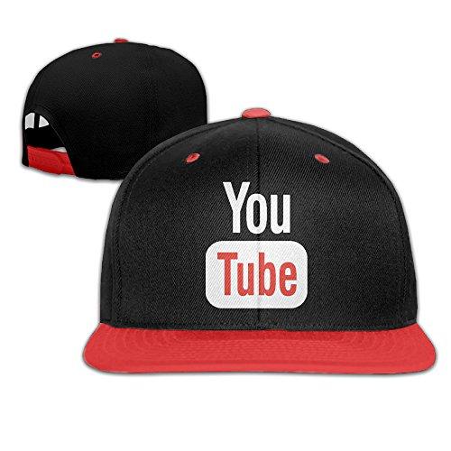 aawode-kids-funny-youtube-plain-adjustable-snapback-hats-caps-red