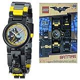 DC Comics Lego Batman Movie Batman Kids Minifigure Link Buildable Watch | Black/Yellow | Plastic | 28Mm Case Diameter| Analogue Quartz | Boy Girl | Official