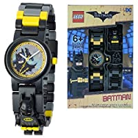 Lego Batman Movie 8020837 Batman Kids Minifigure Link Buildable Watch | Black/Yellow | Plastic | 28mm Case Diameter| Analogue Quartz | Boy Girl | Official