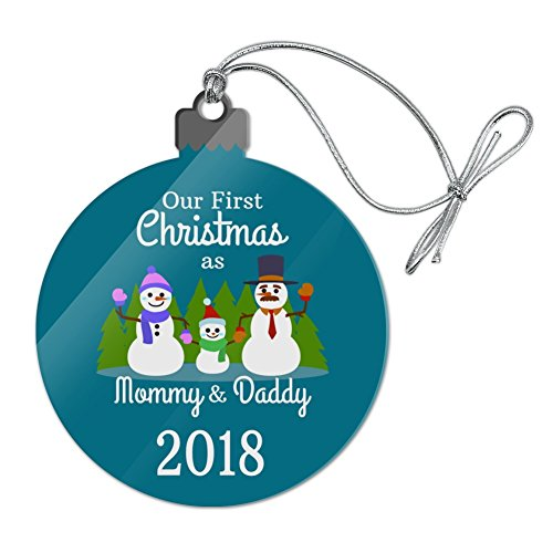 (Graphics and More Our First Christmas as Mommy and Daddy 2018 Snowman Family Acrylic Christmas Tree Holiday Ornament)