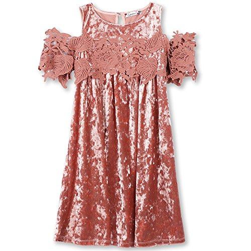 Speechless Girls' Big Cold Shoulder Velvet Dress, lite Mauve 7 ()