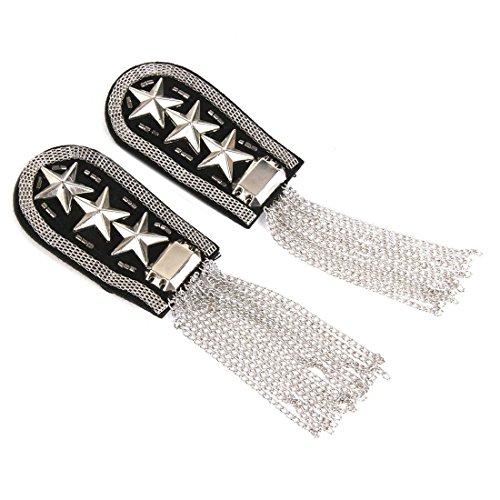 Star Badge - 1 Pair Military Star Tassel Link Chain Epaulet Shoulder Badge Silber - Holder Badge Star Shoulder Badges Shoulder Tassel Brooch Chain Acrylic Collar Star Badge Dress Strap Necklac ()