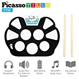 PicassoTiles PT50 Flexible Roll-Up Educational Electronic Digital Music Drum Kit w/ Recording Feature, 7 Different Drum Styles, 9 Different Rhythm Sondg, Headphone/Speaker Modes- Blue