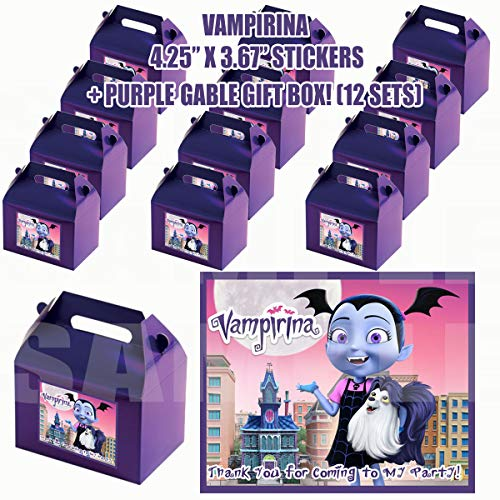 Vampirina Group Party Favor Boxes with Thank You Decals Stickers Loots Purple Birthday 12 Pieces Great Seller ...Vamprina Hauntley Gregoria Oxana Boris Creepy Caroline Poppy Peepleson Nanpire Grandpop