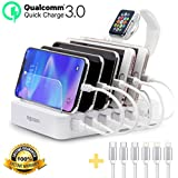 Higboson 6 USB Ports Fast Charging Station Multiple Docking Organizer Smart Watch Holder Compatible for Mobile Phone Tablet Power Bank with 6 Short Cables (White)