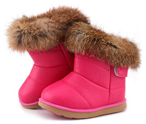 LONSOEN Toddler Girls Boots Fur Lined Winter Boots Shoes, Hot Pink, -