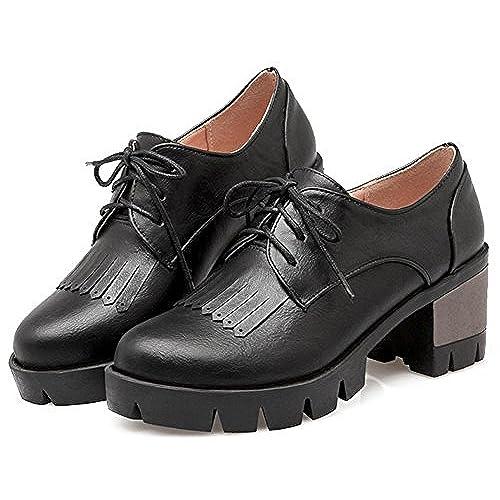 IDIFU Women's Vintage Tassels Platform Mid Heels Chunky Lace Up Oxfords  Shoes Black 10.5 B(M) US