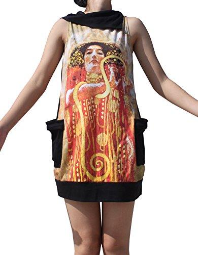 RaanPahMuang Gustav Klimt hygeia Collar Fold Dress, X-Large