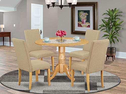 """DLDR5-OAK-16 5Pc Round 42"""" Kitchen Table With Two 9-Inch Drop Leaves And Four Parson Chair With Oak Finish Leg And Linen Fabric- Dark Khaki Color"""