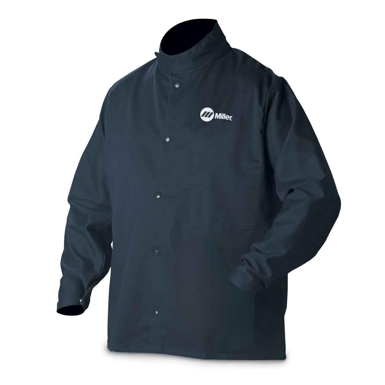 Welding Jacket, Navy, Cotton/Nylon, M Miller Electric 2207775