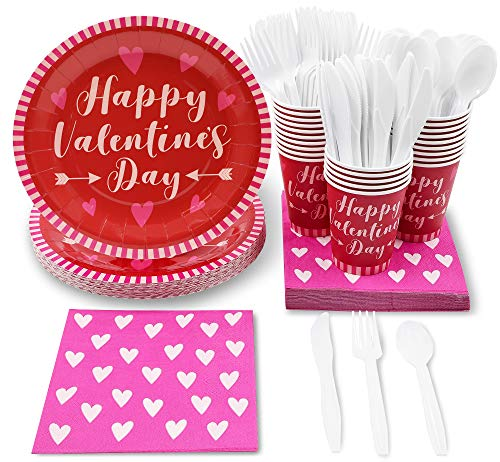 Juvale Valentine's Day Party Pack Set - Serves 24 Guests - Includes Paper Plates, Cups, Napkins, Forks, Knives and Spoons]()
