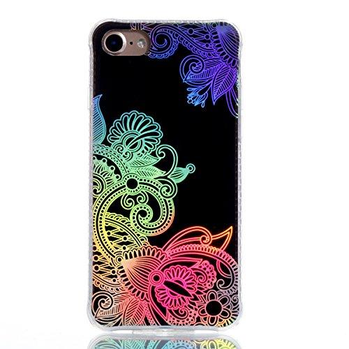 Coque iPhone 8, JIAXIUFEN TPU Coque pour Apple iPhone 7 /iPhone 8 Silicone Étui Housse Protecteur - Shiny Change Color Totem Flower Design