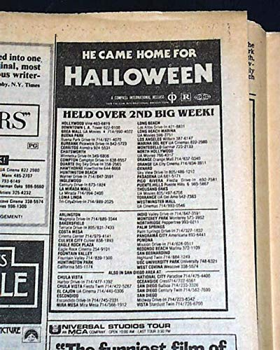 HALLOWEEN John Carpenter Slasher Film Michael Myers Movie AD 1978 L.A. Newspaper LOS ANGELES TIMES, November 7, 1978 -