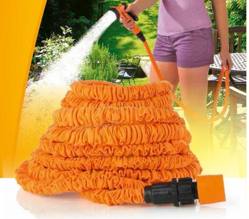 ocona© magischer Gartenschlauch, Wasserschlauch flexiblel ausgedehnt, dehnbar 15m, inkl. Multifunktions-Gartenbrause, orange
