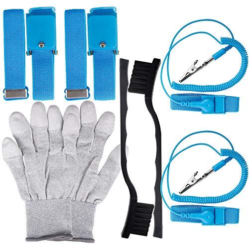 Kuaiqu Anti Static Wrist Band ESD Tool kit Wrist Strap Set Anti-Static Glove with ESD Cleaning Brush for ()