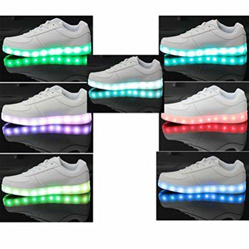 Handtuch 7 Sneakers USB Geschenk kleines mit farbwechselnde Ladeleuchte JUNGLEST® Weiß Sportschuhe LED Unisex Blitzlicht qgt5w6Cx