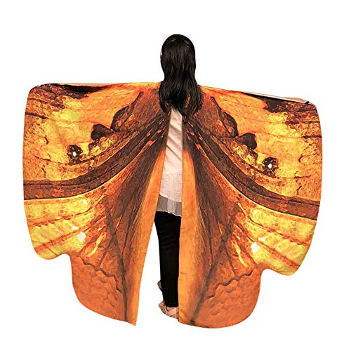 JOFOW Children Halloween Carnival Costume Butterfly Wings Gradient Party Festival Props Shawl Nymph Pixie Accessory (Freesize,Orange)