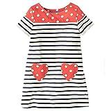 HILEELANG Toddler Little Girl Short Sleeve Striped Cotton Casual Dress Shirt Top 2-7 Year