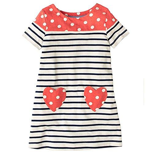 2a63f800d4 HILEELANG Toddler Little Girl Short Sleeve Striped Cotton Casual Dress  Shirt Top 2-7 Year