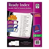 Ready Index Classic Tab Titles, 15-Tab, 1-15, Letter, Black/White, 15/Set, Total 24 ST, Sold as 1 Carton