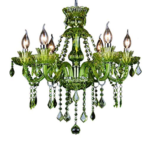 Green Crystal Chandelier - LgoodL Green Color Crystal Lamp Coffee Fresh Green Garden Chandelier Hotel Creative Candle Lamps 6 Heads