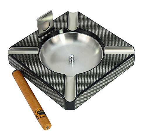 DecoreBay Carbon Fiber Patterned Wooden Cigar Ashtray with 4-Cigar Rests Best Man Gift (Grey)