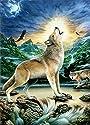 フルダイヤモンド刺繍動物5Dダイヤモンドモザイク写真ラインストーンダイアダイアモンドペインティングウルフイーグルアートクロスステッチキット(30x40cm)