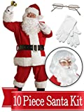 Santa Suit Complete Kit Red Ultra Velvet Deluxe Complete 10 Piece Kit - Santa Costume Outfit