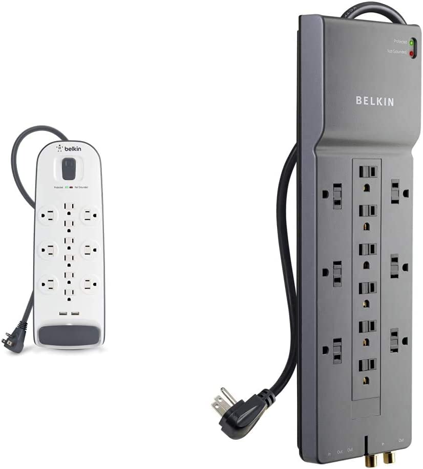 Belkin 12-Outlet USB Power Strip Surge Protector, Flat Plug, 6ft Cord (3,996 Joules), White & 12-Outlet Power Strip Surge Protector, 8ft Cord(3,940 Joules), Gray