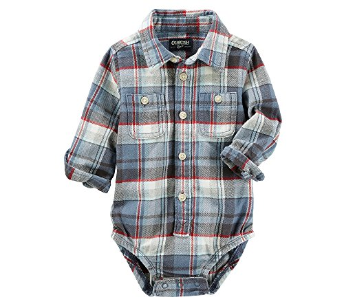 OshKosh B'Gosh Baby Boys' Button-Front Plaid Flannel Bodysuit 12 Months
