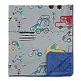 My Blankee Across Town Organic Cotton Grey w/ Minky Dot Electric Blue Baby Blanket, 30 X 35 by My Blankee