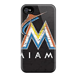 Durable Hard Phone Cases For Iphone 4/4s (ohi8312nZKW) Unique Design Lifelike Miami Marlins Pattern