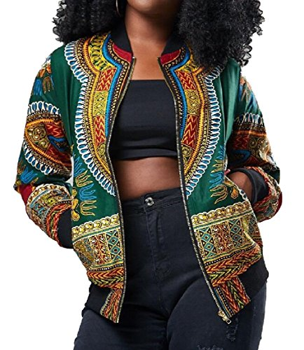 Tribal Bomber African Print Coats security Green Dashiki Short Women's Fashion Jacket RBOUn7Z